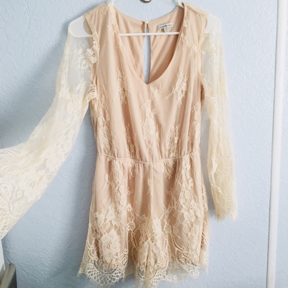 2b1786f72580 Charlotte Russe Pants - Light Nude Lacey Romper
